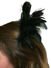 Ladies Black & Silver Tinsel Feather Hair Clip Fascinator Fancy Dress Accessory