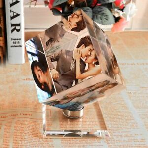 Customized Pictures Frame Square Souvenir Rotating Crystal Printing Album Glass