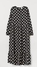 H&M Polka Dot Spotty Dress Silky Black Cream MIDI/maxi Length Blogger Style