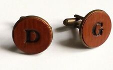Personalised Gift Mens Hand Stamped Initial Leather Cufflinks - CHOOSE LETTERS