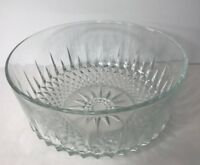 "Vintage Arcoroc France Diamant Pattern Serving Salad Bowl 9"" Wide Clear Glass"