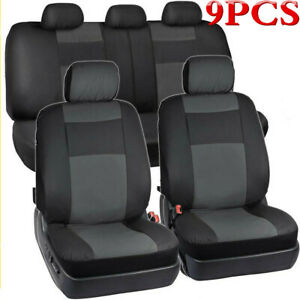 9Pcs Universal Black PU Leather Auto Seat Cover Protect Pads For 5 Seats Car