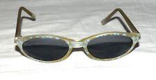 Girls Blue Daisies on Smoky Translucent Frame Cats Eye Sunglasses Marked PO