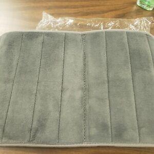 Absorbent Memory Foam Bathroom Floor Mat 24X16 Gray