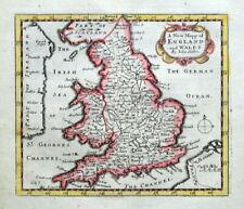 ENGLAND AND WALES, John Seller, Original Antique Map c1696