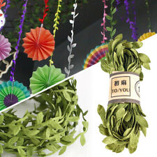 10 M Craft Fabric Leaf Garland Ribbons Webbings Trim Green Sewing & Home Decor