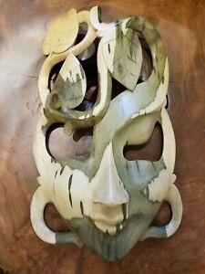 Hibiscus Wood Mask Surreal Wall Art Hand Carved Bali Handmade Harmony Peace