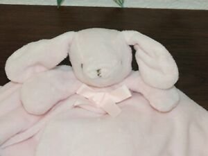 Blankets & Beyond Pink Bunny Brown Stitching Rabbit Lovey Baby Security Blanket