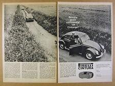 1963 Pirelli Tires Volkswagen Beetle Saab Volvo Simca cars vintage print Ad