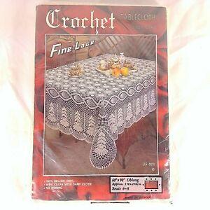 "Crochet Tablecloth Fine Lace Vinyl 60"" X 90"" Cream Rectangle JS-923 New"