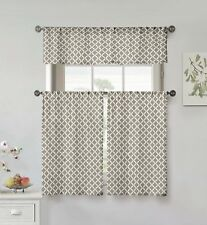 "Taupe and White Cotton 3 Pc Small Curtain Set: Moroccan Valance2 Tiers 36""L