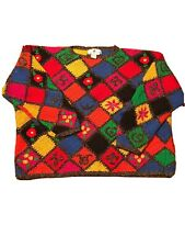 Vtg Jennifer Reed Knitted by Hand Sweater Womens Medium Floral Red Yellow Blue