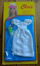 1987 Chris Fashion Doll Wedding Gown Lace Veil Bouquet Shoes Outfit Barbie/Maxie