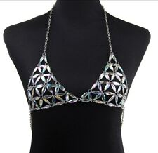 Rhinestone Bra Crop Top  Festival Rave Chain Bra Stripper Dancer Clothing