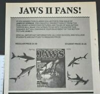 JAWS II Of Horror Movie Terror Sharks Magazine 1978 Vintage Collectible Print Ad