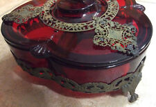 Antique Red Glass Ormolu 3 Sec Candy Dish w Cover Sitting on Filigree Brass Legs