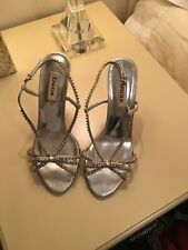 BN RRP £135 DUNE SIZE 4 5 6 7 8 IVORY CREAM SILVER DIAMANTE HANNERS BRIDAL SHOES