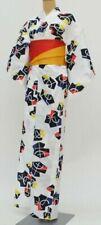 Vintage Japanese White Cotton 'Bright Patterns' Yukata/Robe & Reversible Obi S/M