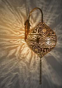 Handcrafted Moroccan Oxidize Brass Tasseled Wall Light Fixture Lamp Lantern