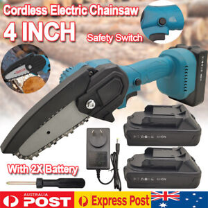 "4"" Mini Cordless Electric Chainsaw 2X Battery-Powered Wood Cutter Rechargeable"