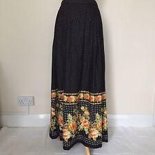 Vintage Retro Cotton Full Length Floral Poker Dot Maxi Skirt Front Pockets Large