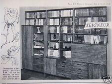 PUBLICITÉ 1962 EXPOSITION MEUBLES SEIGNEUR BIBLIOTHÈQUE - ADVERTISING