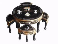 Chinese Oriental Black Lacquered Round Coffee Table with 4 Stools