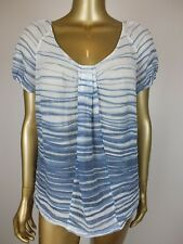 DAVID LAWRENCE STRIPED BLOUSE TUNIC SHIRT TOP - COTTON METAL - 14