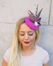Hot Pink Brown Pheasant Statement Feather Fascinator Hair Clip Hat Races 2553
