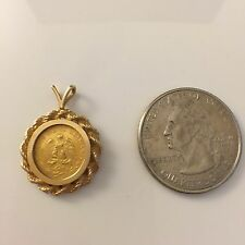 Estate 14K Ladies Yellow Gold Mexican Dos Pesos Coin Pendant