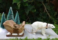 Miniature Dollhouse FAIRY GARDEN ~ CHRISTMAS Polar Bear Pulling Sleigh ~ NEW