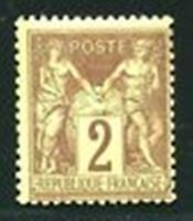 "FRANCE STAMP TIMBRE YVERT N° 85  "" TYPE SAGE 2 c BRUN-ROUGE  "" NEUF XX LUXE"