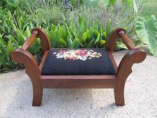 Vintage Footstool Walnut Double Handled Floral Black Needlepoint Restored