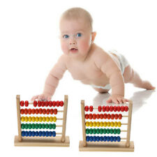Kids Wooden Bead Abacus Counting Frame Early Educational Learn Maths Toy FG