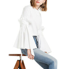HaoDuoYi Womens Bella Tie Bell Sleeve Top Unique Design Autumn Casual Blouse XL