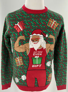Santa Claus Mens Bodybuilder Ugly Christmas Sweater Party Festive Size Small