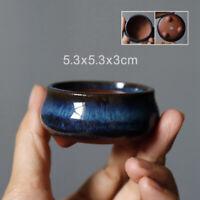 Round Bonsai Pot Blue Glazed Ceramics Flower Pots Landscaping Garden Decoration