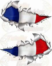 Small Size French flag Metal Rip Open Sticker 4X4 Race Car Truck Van Boat
