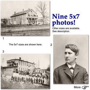 Thomas Edison Menlo Park NJ lab & home, electricity, lightbulb, 9 5x7 photos lot