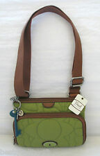 NEW FOSSIL KEY PER TOP ZIP GREEN+BROWN NYLON CROSSBODY,HAND BAG,PURSE