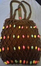 Womens/Ladies Spirit Bag☆Brown Safari string bag with coloured wooden beads❤