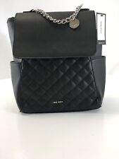 Nine West Womens Yasmina Quilted Faux Leather Backpack Black One Size NWT=