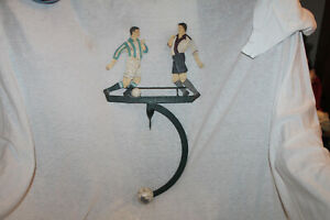 Antique Metal Toy Soccer Players Kicking Ball Balancing Weight Vintage Toy