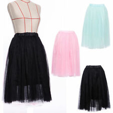 Knee Length Party Patternless Tulle Skirts for Women