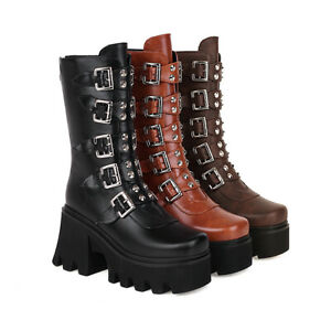 Womens High Heel Platform Shoes Buckle Strap Studded Faux Leather Mid Calf Boots