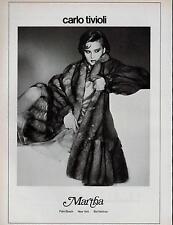 1982 CARLO TIVIOLI FUR  COAT  ( MARTHA )   magazine Print AD