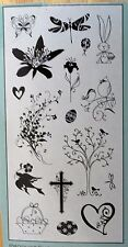Clear Photopolymer Easter Valentine Tree Bird + 17pc INK STAMP SET Acrylic Block