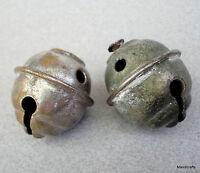 Beehive 1890s Sleigh Bells x 2 Stamped Brass Nickel sz 3 Antique Horse Christmas