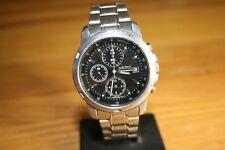 Seiko Cronografo in Acciaio Inox Bracciale Watch, 7T92-0BF0, Tachimetro, Lot150