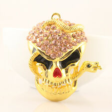 Snake Skull Fashion Keychain Crystal Charm Pink Sparkle Halloween Gift 01207